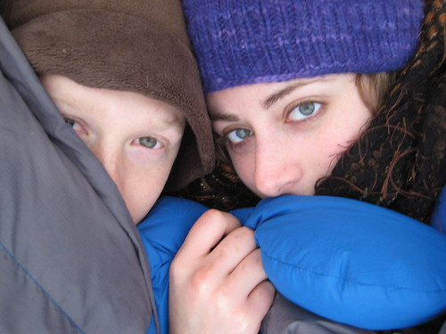 Good Morning! (Us in Sleeping bag, winter camping) | by goingslowly