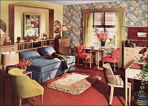 1942 One Room Apartment Armstrong Linoleum This Image