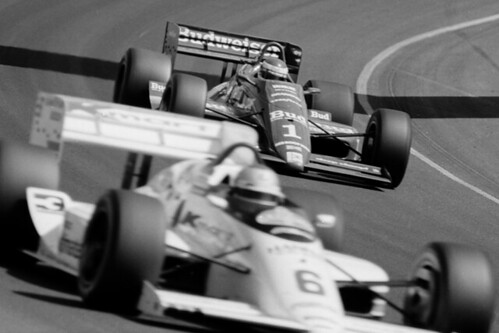Bobby Rahal Catching Mario Andretti By Ken Barton April