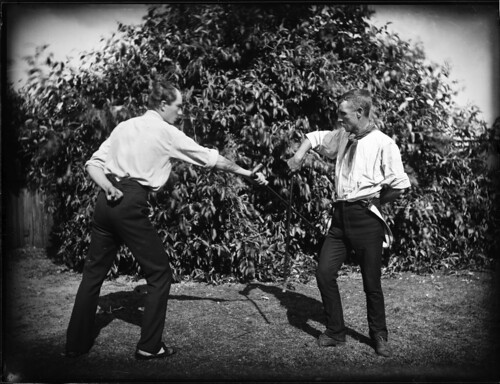 Scene of two men fencing | by Powerhouse Museum Collection