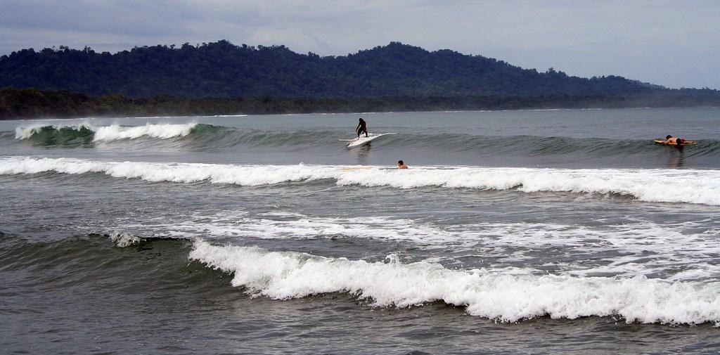 Surfers at Playa Negro in Puerto Viejo, Costa Rica
