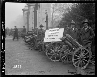 Trench mortars captured by New Zealanders in World War I on display in London, 1918 | by National Library NZ on The Commons