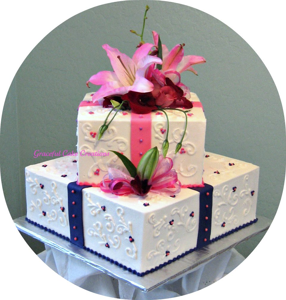 tropical bridal shower cake by graceful cake creations