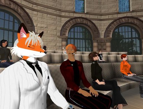 Avatars attending Henry Jenkins keynote from NMC2008 in Second Life | by Fleep Tuque