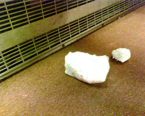 Wadded up dirty diaper under a seat on the metro | by nolageek