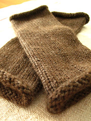 Brown wrist warmers | by coco knits