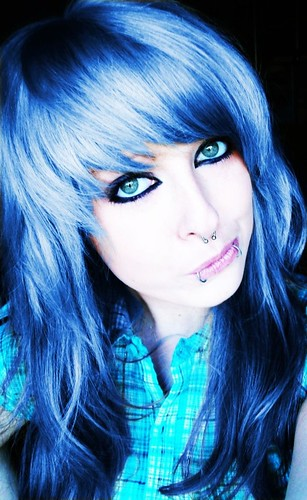 blue long emo scene hair style for girls | by ♥ BiBi BaRbArIc ♥