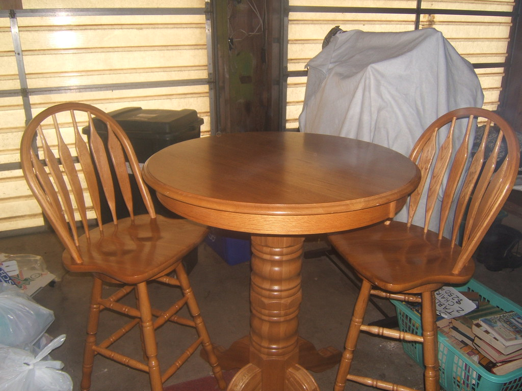 Superior Solid Oak Pub Table And 2 Chairs Adj76 Flickr