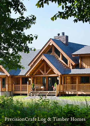 Custom Home Front Elevation : Log home front elevation custom by precisioncra