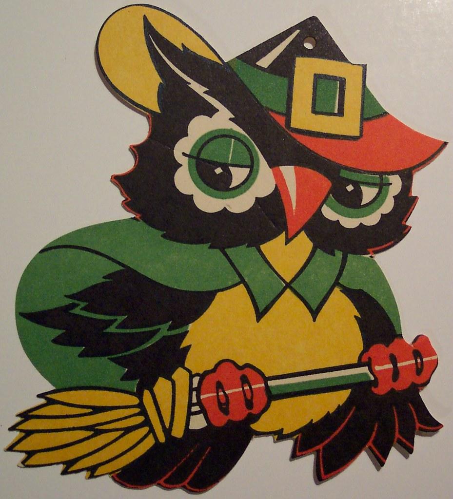 Vintage Halloween Cut Out Owl On Broom
