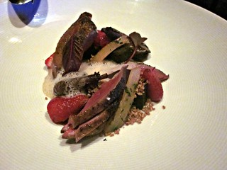 Aziza - San Francisco - June 2011 - Squab, Strawberry, Salsify, Nettle Cake, Oats, Foie Gras Emulsion | by garyalanfine