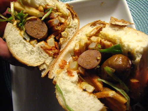 Sandwich de Merguez / Merguez Frites with Fried Leeks and French Fries | by SeppySills