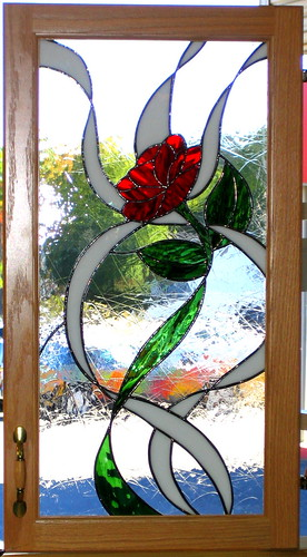 Rose Kitchen Cabinet Door In Stained Glass Hues In Glass