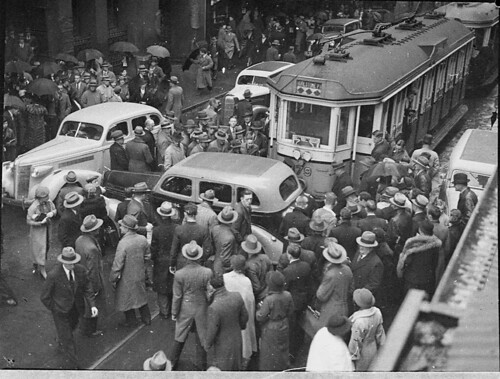 Tram and taxi smash in Pitt Street, 25/6/1937 / Sam Hood | by State Library of New South Wales collection