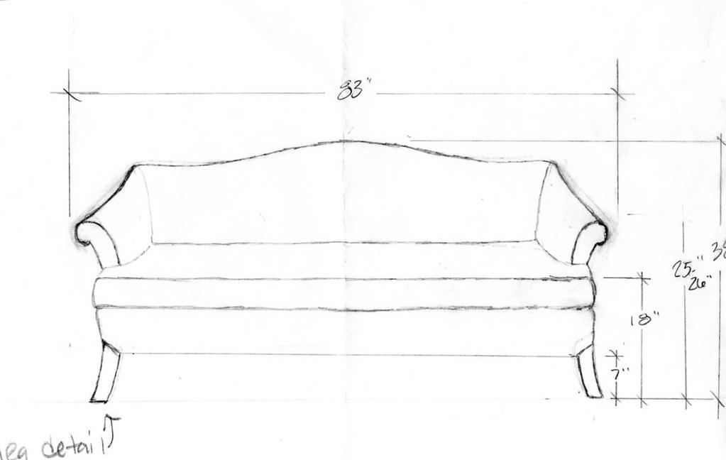 Camelback Sofa Sketch