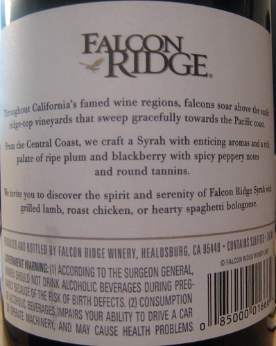 Falcon Ridge 2006 Syrah (back) | by 2 Guys Uncorked
