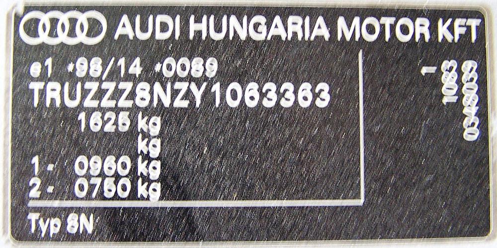 Audi TT 2000 serial number plate (VIN tag) | Audi TT 2000 se… | Flickr