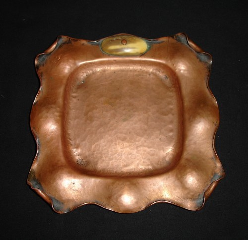 Graphic Tray Handcrafted From Ivory And: ARTS & CRAFTS ALBERT BERRY COPPER TRAY IVORY
