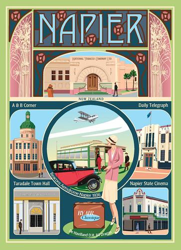 New Zealand Postcard Art Deco Napier Original Postcard