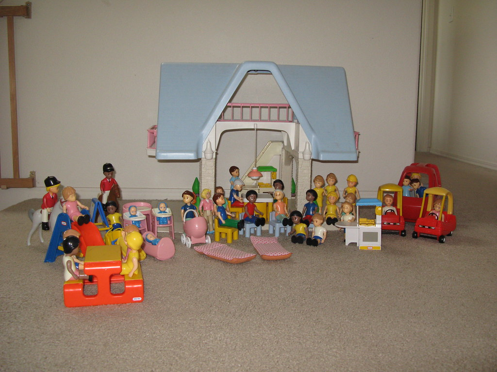 ... Little Tikes (Tykes) Doll House, Furniture, People, And Horses | By