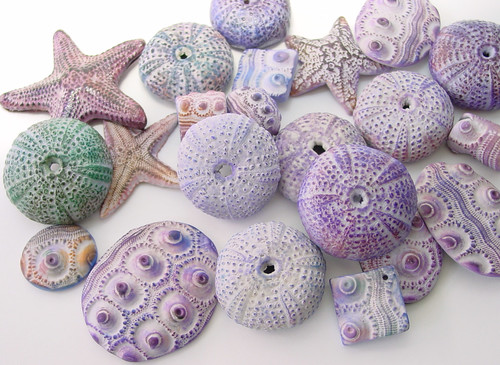 Polymer Clay Sea Urchins and Starfish beads | by Tina Holden