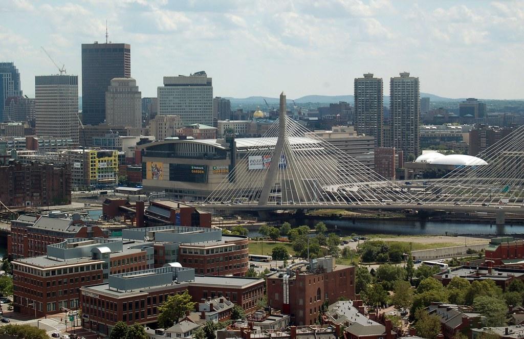 Boston TD Garden and Zakim Bunker Hill Bridge from Bunker Flickr