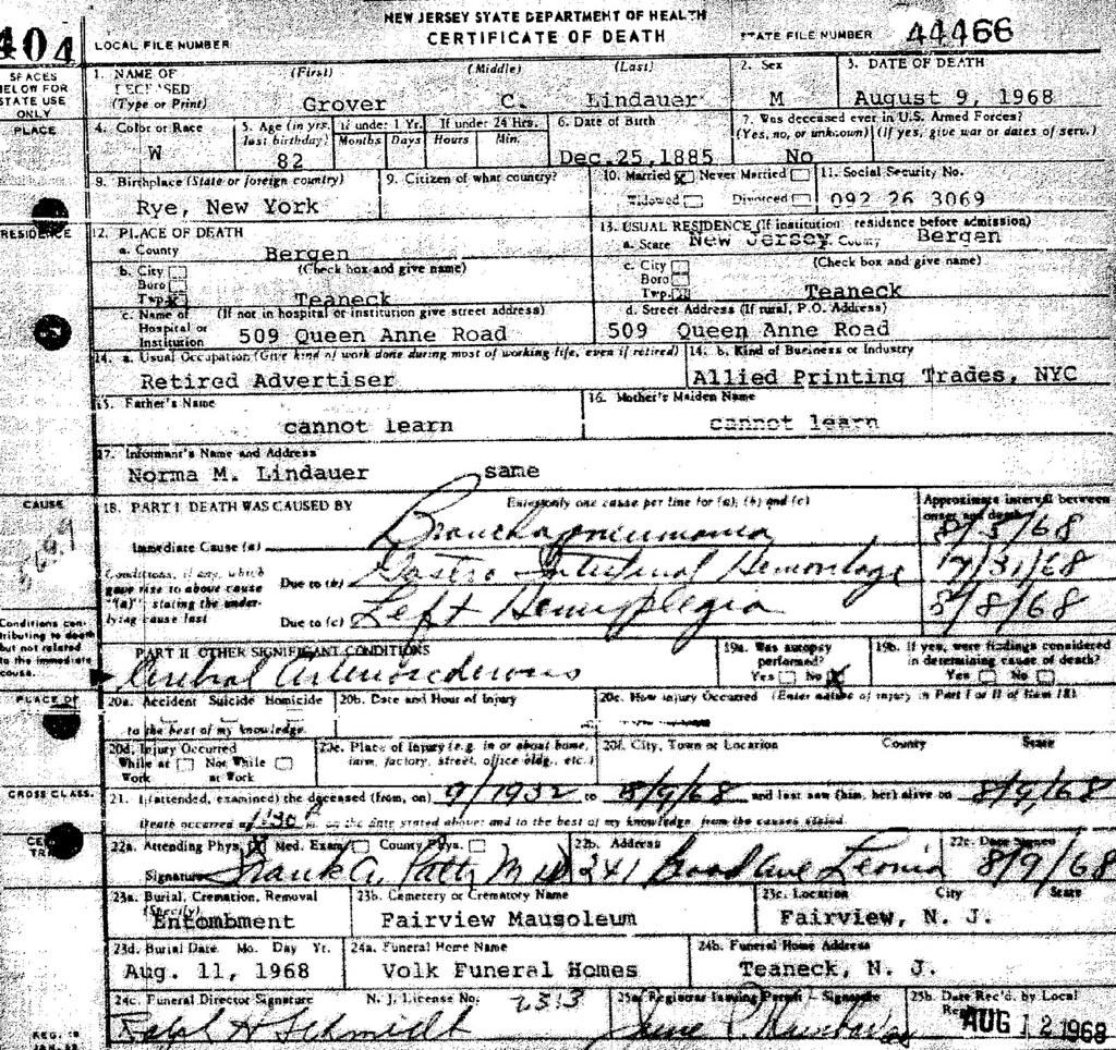 grover cleveland lindauer 1885 1968 death certificate flickr Time Magazine Cover grover cleveland lindauer 1885 1968 death certificate by richard arthur norton