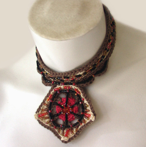 Soleil Noir - Beaded crochet choker | by Recycled by Hyena