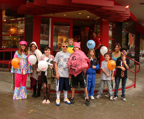 kids posing for a halloween group photo outside red robin spokane by lloyd n