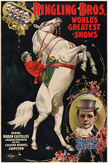 Madam Ada Castello and Jupiter, poster for Ringling Brothers, ca. 1899 | by trialsanderrors