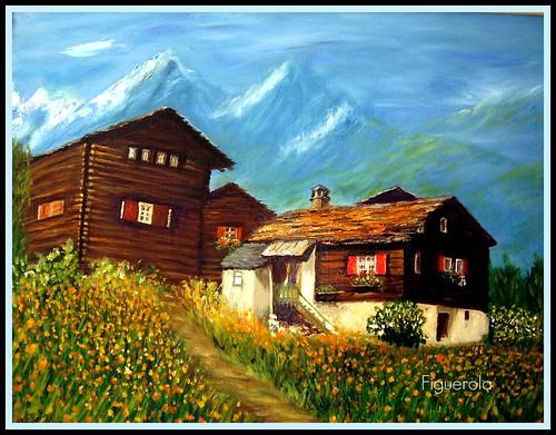 Casas de madera en los alpes suizos pintura al oleo sore l flickr - Casas en los alpes suizos ...