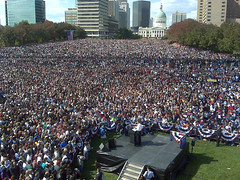 100,000 in St. Louis for Barack Obama | by stevegarfield