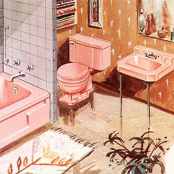 Vintage Bathroom Illustration
