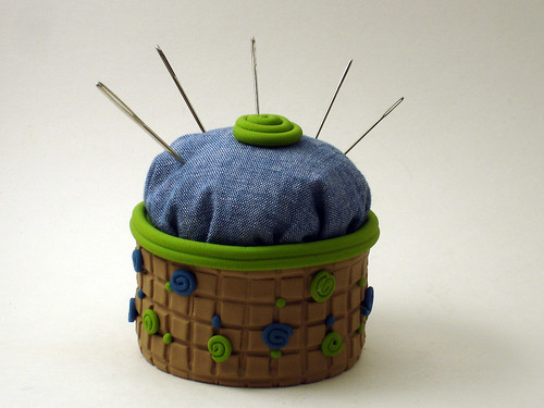 Green & Blue Pincushion | by CraftyGoat
