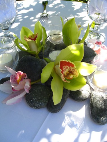 Simple zen centerpiece river rocks candles and