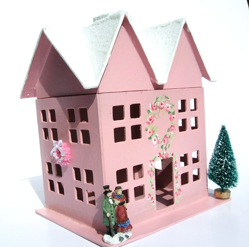 Pink Christmas Cottage | by Nifty Thrifty Bits