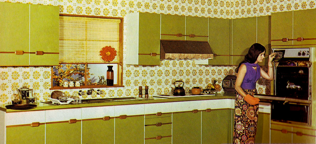 Harvest Gold Paint With Brown Cabinets Kitchens