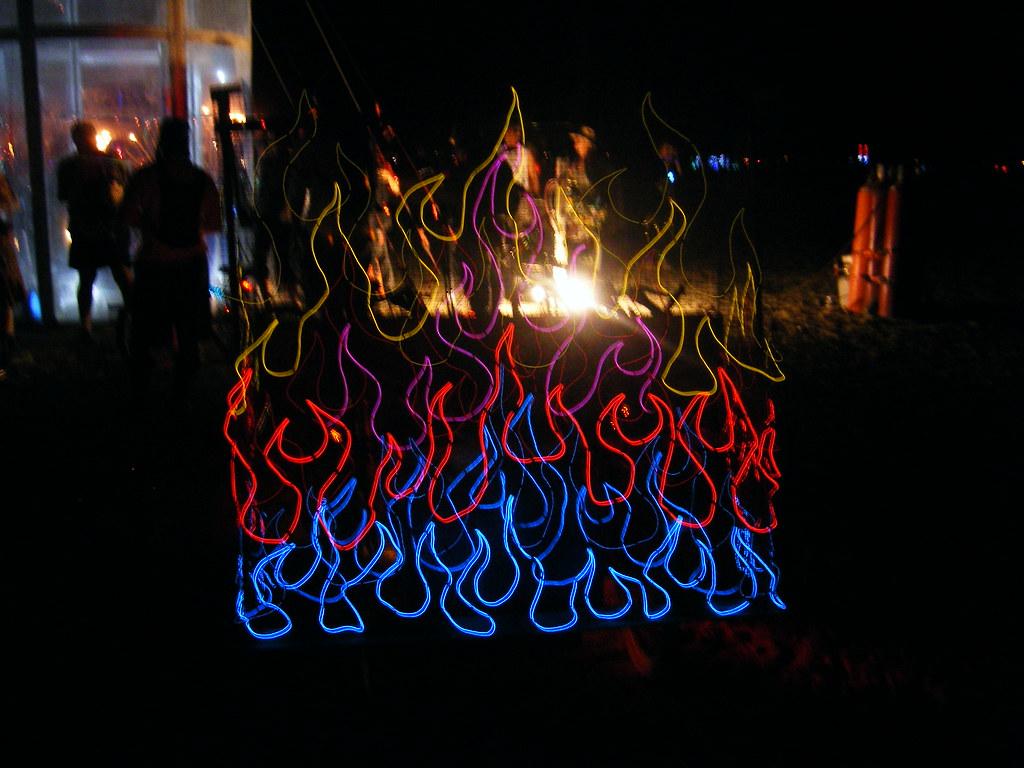 Fire EL-wire effects on an art car | charis | Flickr