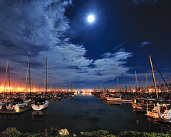 Ventura Harbor Under a Full Moon | by Amery Carlson