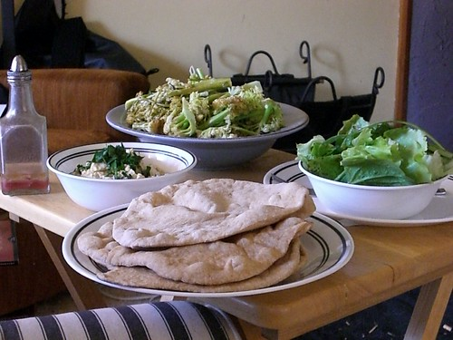 ... pitas and hummus; homegrown broccoli, cauliflower, lettuce, parsley