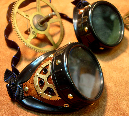 Steampunk Goggles with big brass gear | by Boilermonster