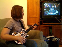 Cathy playing Guitar Hero for the first time | by silent (e)