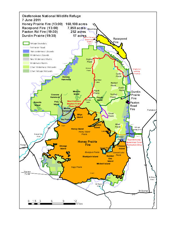 Okefenokee Fire Map.Okefenokee Fire Location Map June 07 2011 This Fire Start Flickr