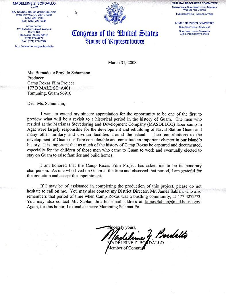 acceptance letter from congresswoman madeleine z bordallo flickr