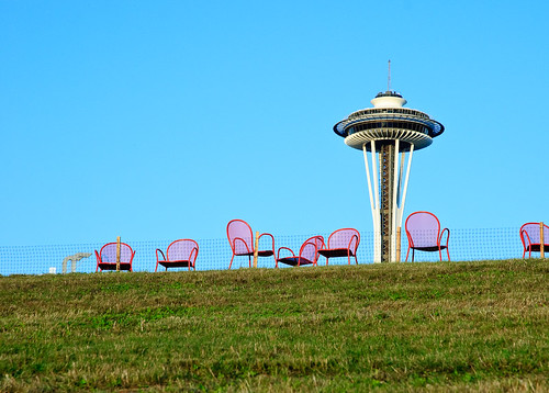 Space Needle over Olympic Sculpture Park | by jacobC