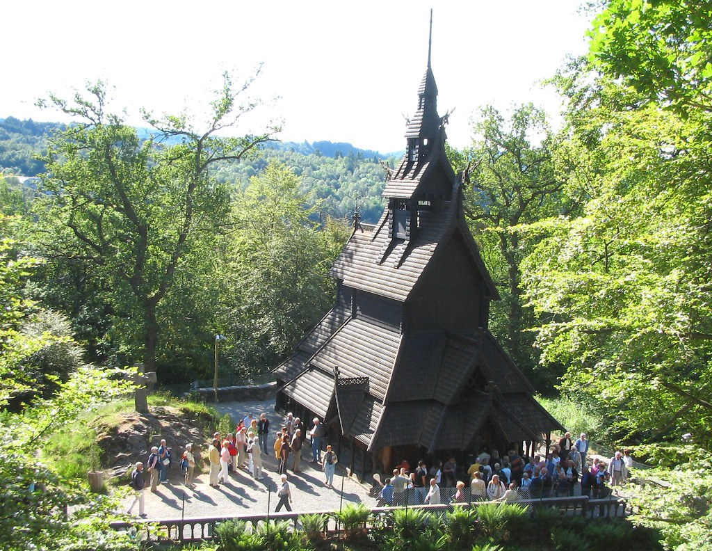Fantoft Stavechurch in summer, Bergen (Norway)