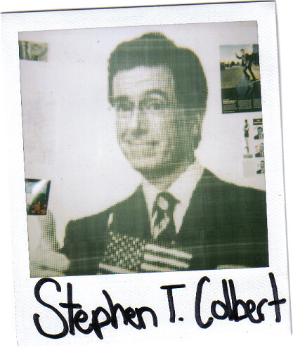 stephen colbert in the form of a polaroid | by sheilawesome