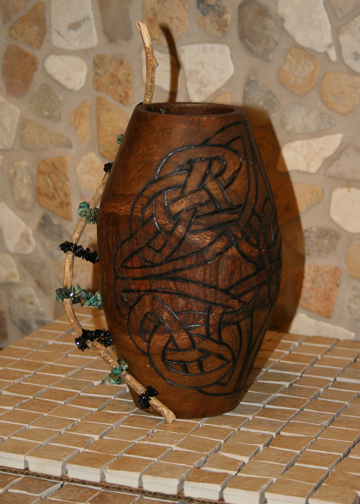 Wood Celtic Vase With Handle Palm Wood Vase Purchased T Flickr