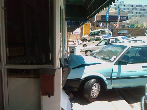 Car crashed into a wall in Kloof Street, Cape Town, Souith Africa | by Louis Rossouw