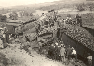 Photograph of post card of wrecked train near Beitner, Michigan | by Smithsonian Institution